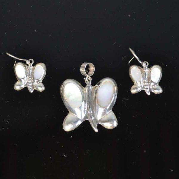 Zilveren set Vlinder