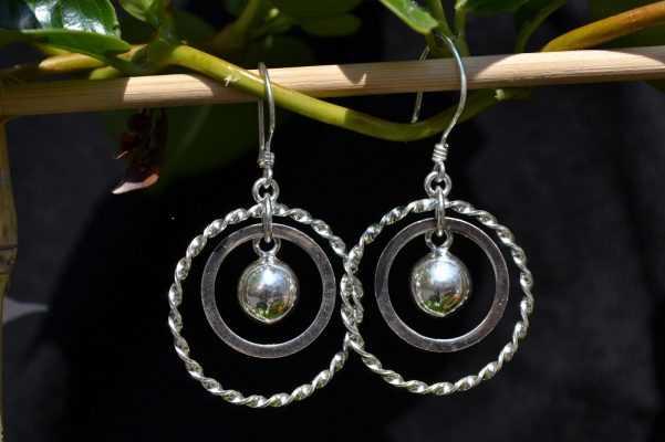 Zilveren oorbellen Dubbele Ring