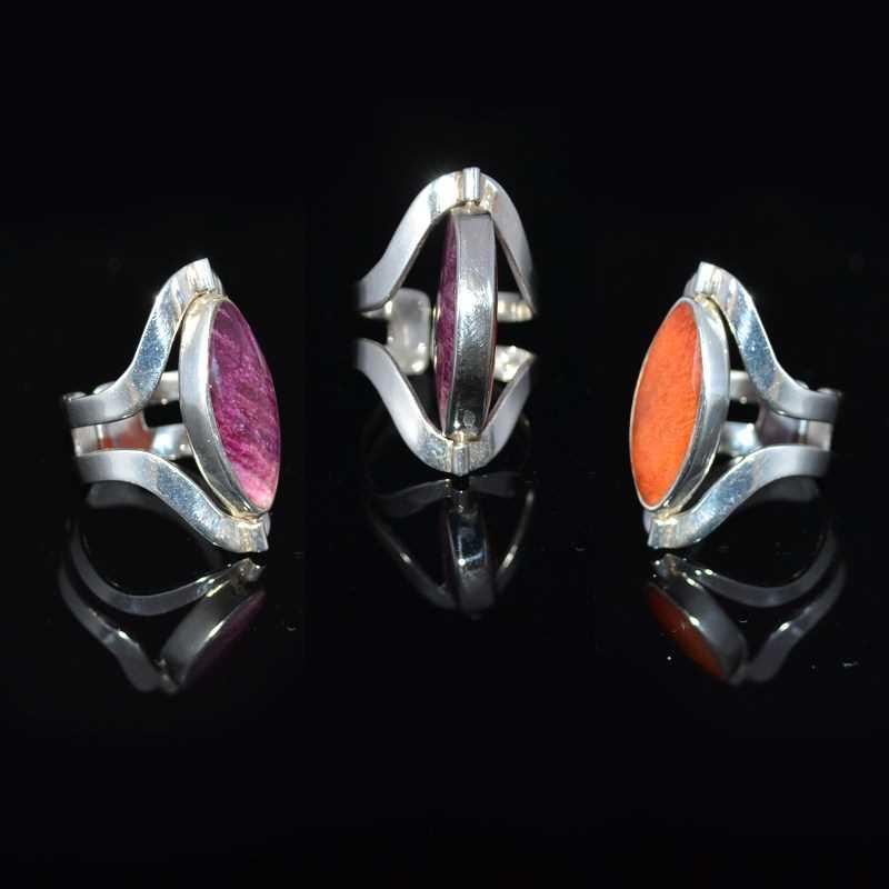 Zilveren ring dubbel steen