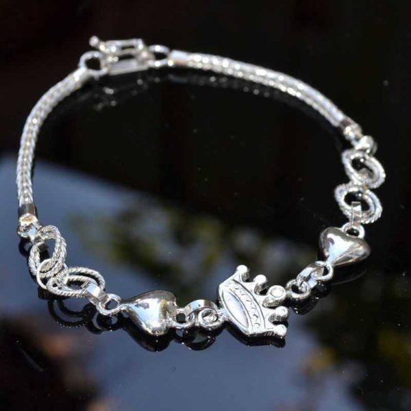 Zilveren armband Kroon