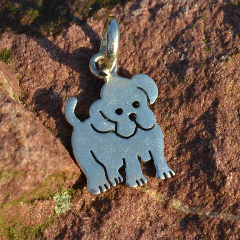 Zilveren hanger Bulldog