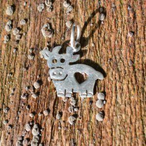 Zilveren hanger - bedel Koe