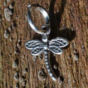 Zilveren hanger - bedel Libelle