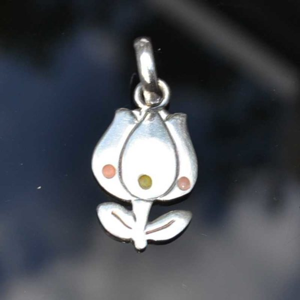 Zilveren hanger Tulp