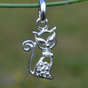 Zilveren hanger Kat 4