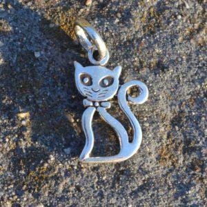 Zilveren bedel hanger Kat