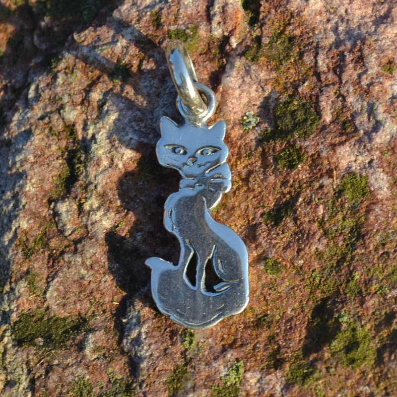 Zilveren hanger Kat 2