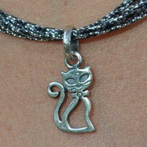 Zilveren hanger Kat 3