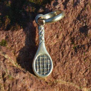 Zilveren bedel hanger Tennisracket
