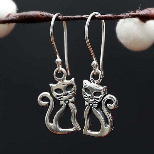 Zilveren oorbellen Katten