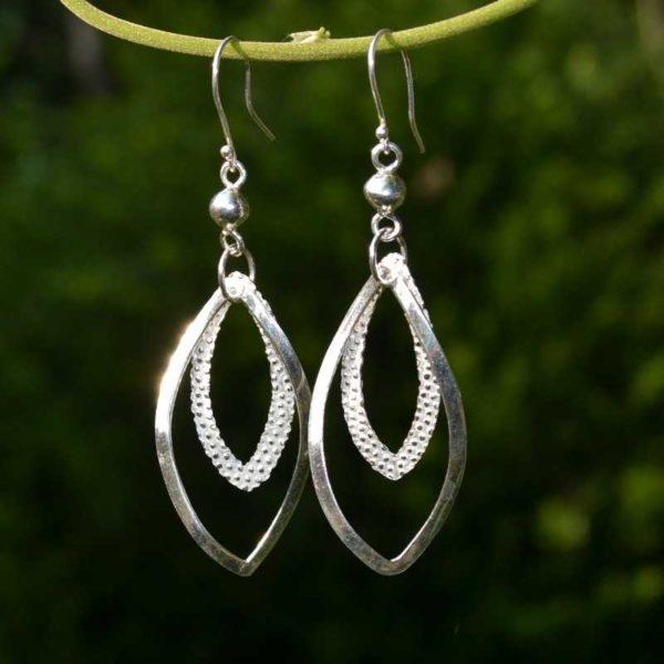 Zilveren oorbellen Dubbele ovaaltjes