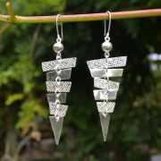 Zilveren oorbellen Piramide 3
