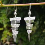 Zilveren oorbellen Piramide 2