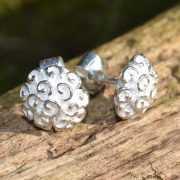 Zilveren oorbellen Hortensia 2