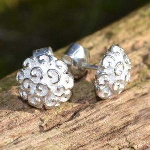 Zilveren oorbellen Hortensia