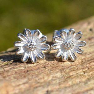 Zilveren oorbellen Zonnebloem
