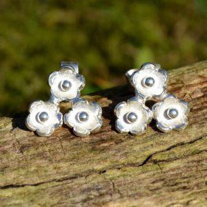 Zilveren oorbellen Bloemetjes