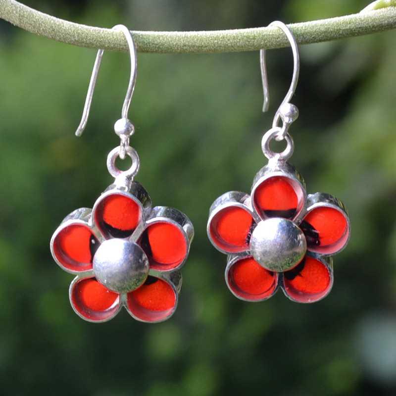 Zilveren oorbellen Huayruro Bloemen