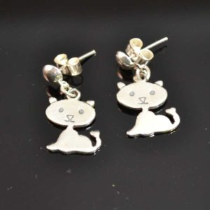 Zilveren oorstekers Poes