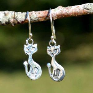 Zilveren oorbellen Poes