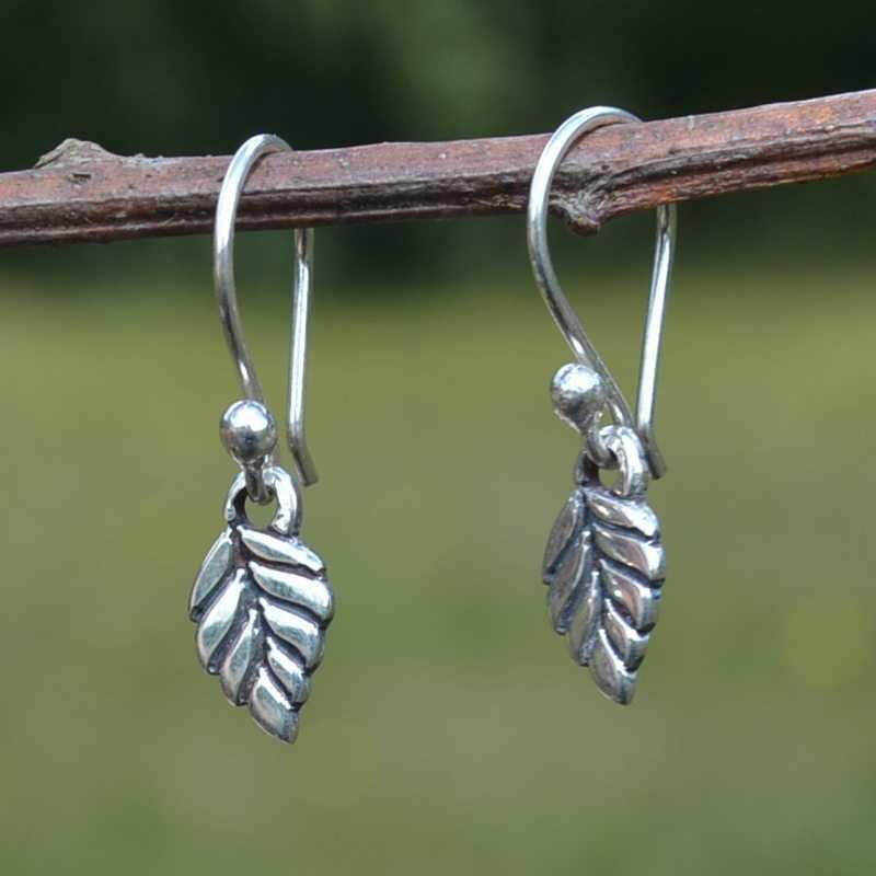 Zilveren oorbellen Mini Blad