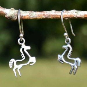 Zilveren oorbellen Paard