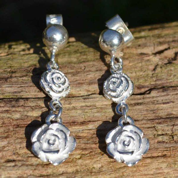 Zilveren oorbellen Rose