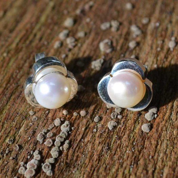 Zilveren oorstekers Perla