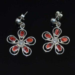 Zilveren oorbellen Bloemen