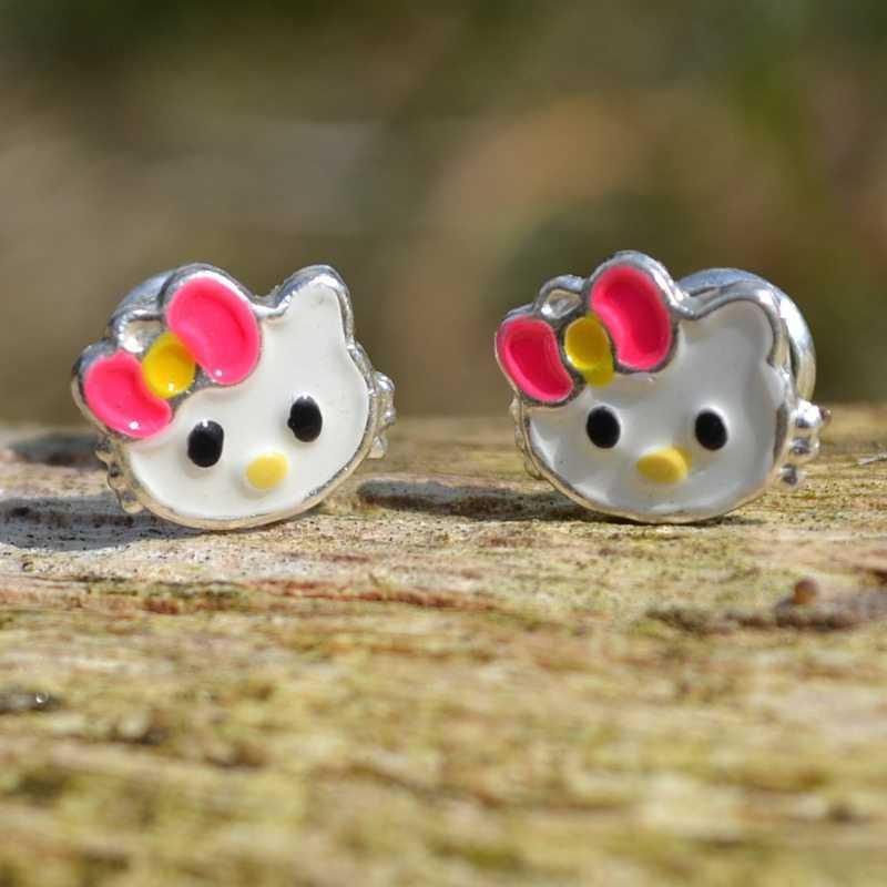 Zilveren oorbellen Hello Kitty
