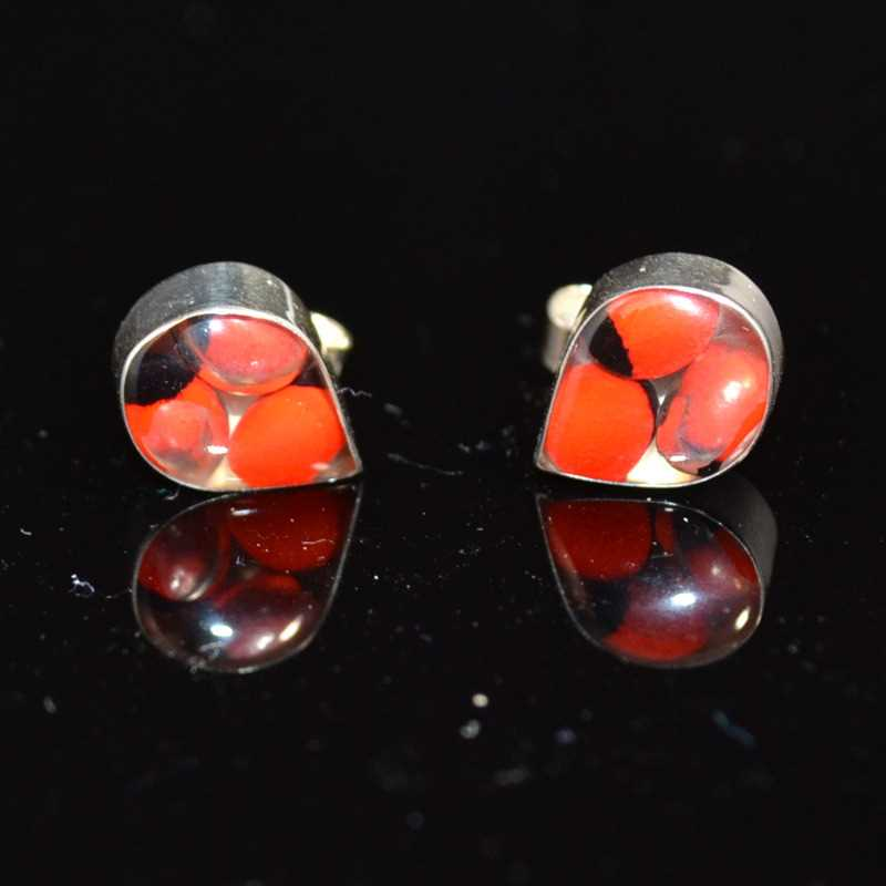 Zilveren oorstekers Huayruro druppels