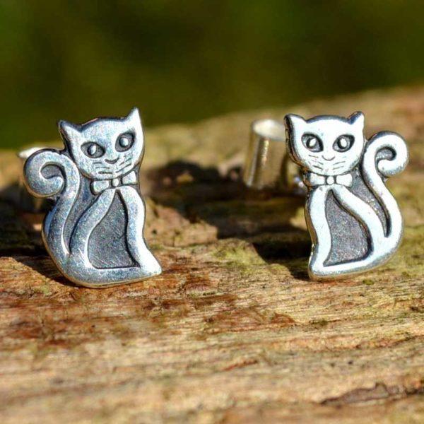 Zilveren oorbellen Kat