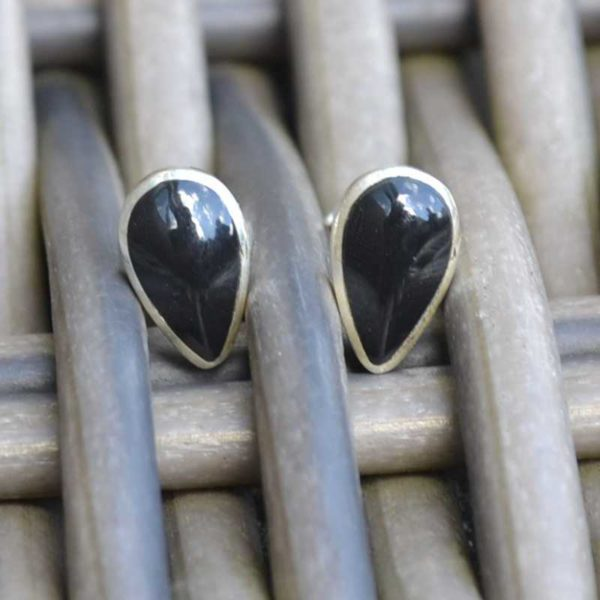 Zilveren oorstekers Noir