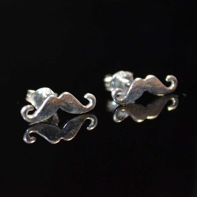 Zilveren oorstekers Snor