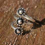 Zilveren ring Drie Bloemen