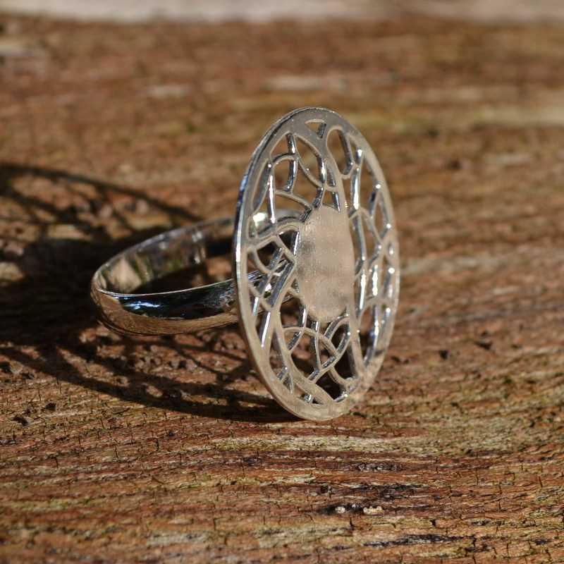 Zilveren ring Mandala I