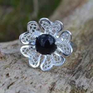Zilveren ring Filigraan Bloem II