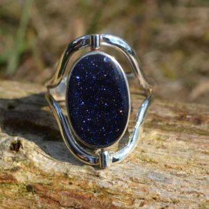 Zilveren ring Dubbel steen 1709