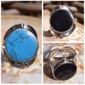 Zilveren ring Dubbel steen Turquoise