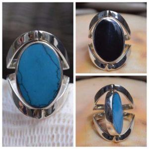 Zilveren ring met dubbel steen 1705