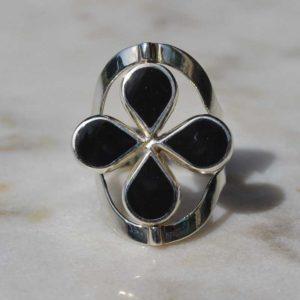 Zilveren ring Dubbel Steen Bloem 3