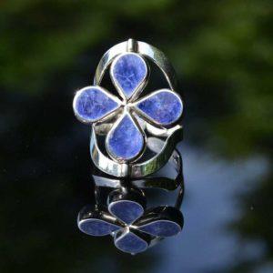 Zilveren ring Dubbel Steen Bloem 1