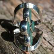 Zilveren ring Dubbel Steen Bloem 4