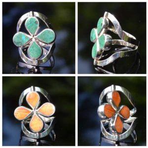 Zilveren ring Dubbel Steen Bloem 2