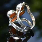 Zilveren ring Dubbel Steen Bloem 2 3