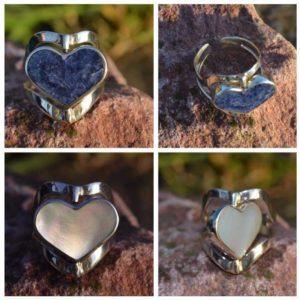 Zilveren ring Dubbel Steen Hart