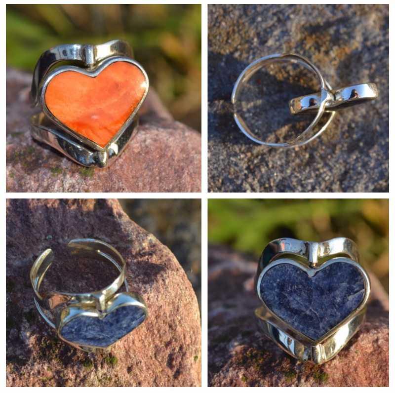 Zilveren ring Dubbel Steen Hart 3