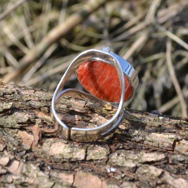 Zilveren ring met dubbel steen 1704