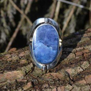 Zilveren ring met dubbel steen Royal