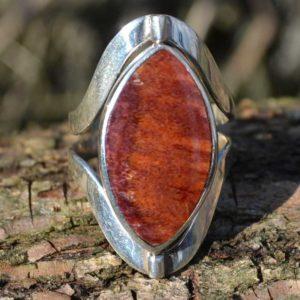 Zilveren ring met dubbel steen 1701
